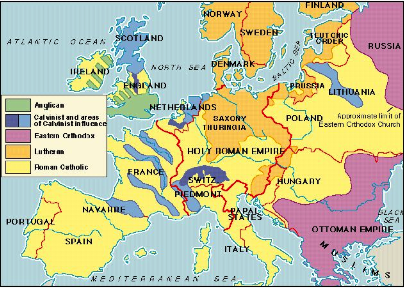 Early Modern Europe - Religion map europe